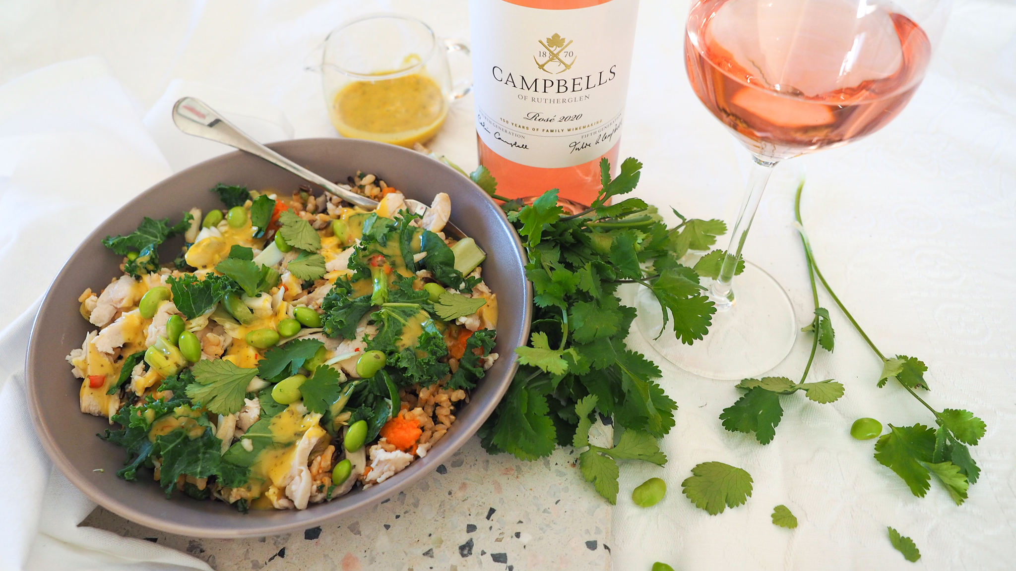 Warm Chicken Salad with Citrus Sauce paired with Rosé
